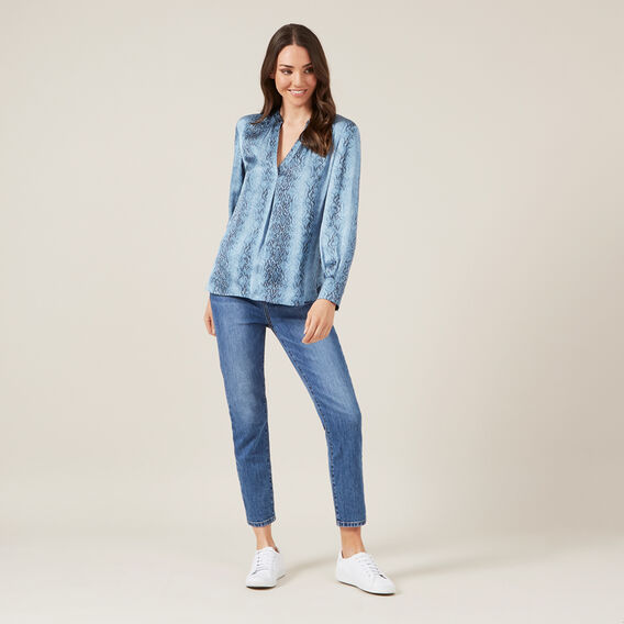 BLUE SNAKE POPOVER SHIRT  BLUE  hi-res