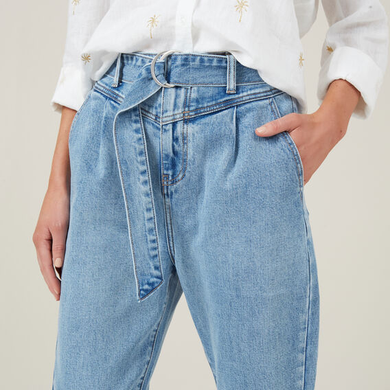 DENIM HIGHWAIST PANT WITH TIE  BLUE  hi-res