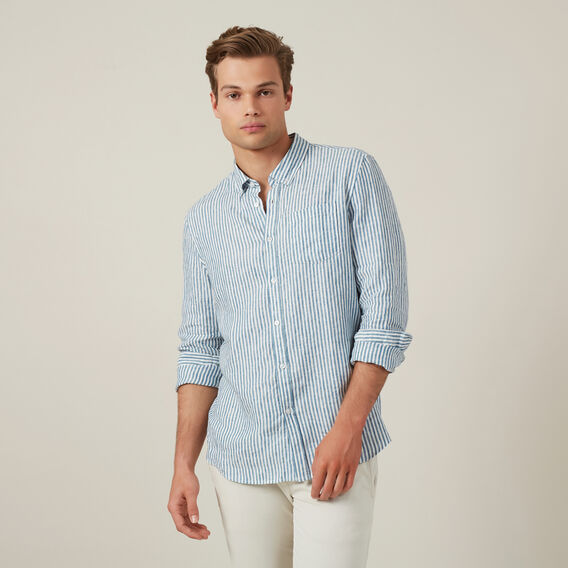 LINEN L/S CLASSIC FIT SHIRT  STRIPE  hi-res