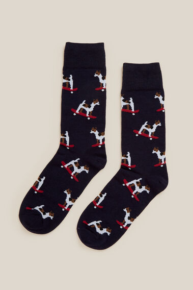 SKATEBOARD DOG 1PK SOCKS  MARINE BLUE  hi-res