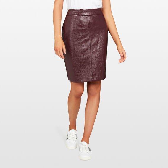 PU PENCIL SKIRT  BURGUNDY  hi-res