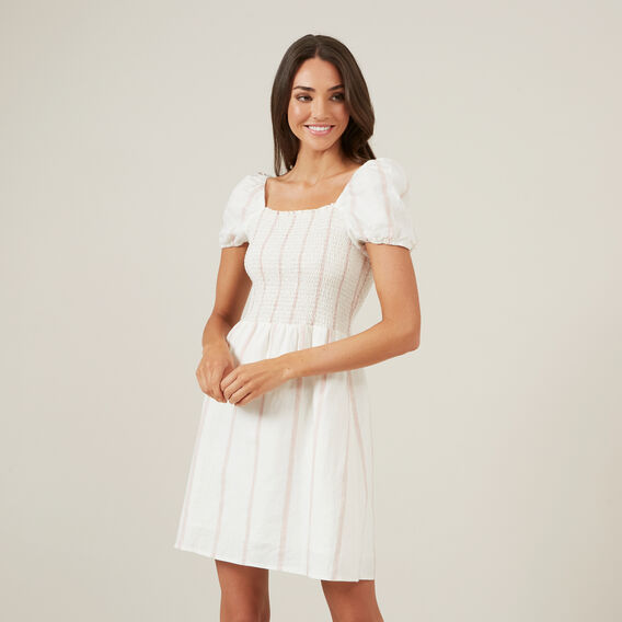 STRIPE SHIRRED MINI DRESS  WHITE  hi-res