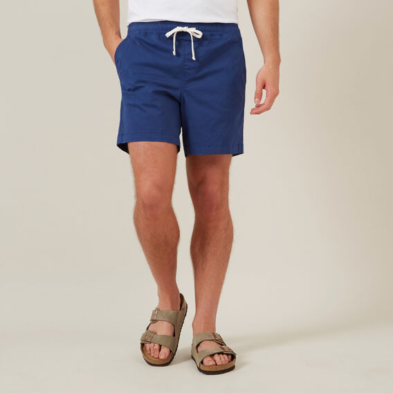 COTTON PULL ON SHORT  INDIGO  hi-res