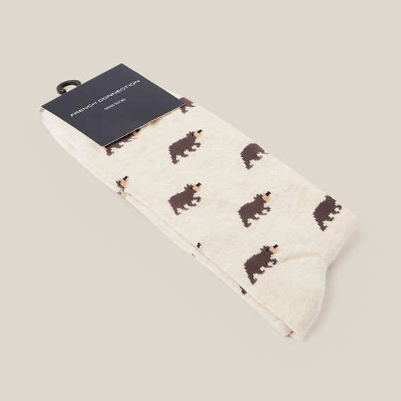 ROAMING BEAR 1PK SOCKS  OATMEAL  hi-res