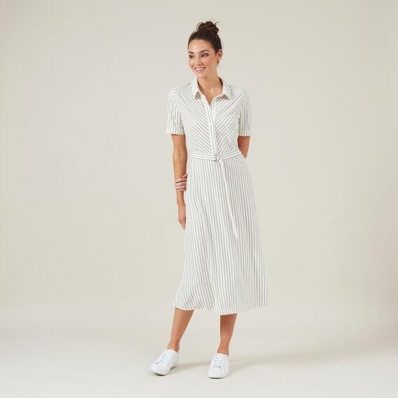 MIDI STRIPE SHIRT DRESS  WHITE  hi-res
