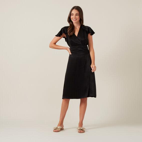 V-NECK WRAP DRESS  BLACK  hi-res
