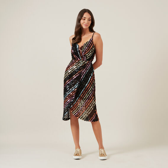 SEQUIN MOCK WRAP DRESS  MULTI  hi-res