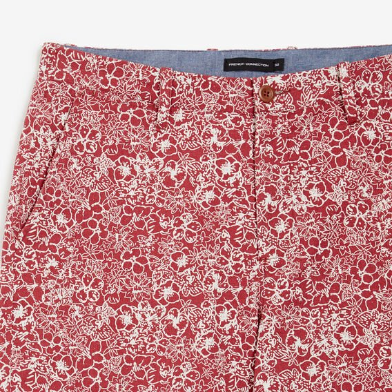 HAND DRAWN FLORAL SHORT  WASHED RED  hi-res