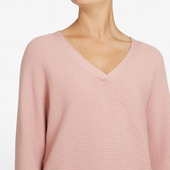 RIBBED V NECK KNIT  DUSTY PINK  hi-res