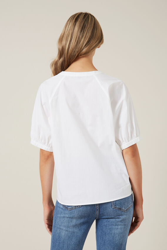 GATHERED SLEEVE BLOUSE  WHITE  hi-res