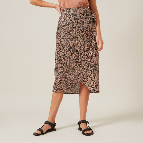 LINEN ANIMAL WRAP SKIRT  ANIMAL  hi-res