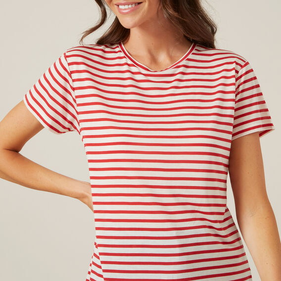 WASHED STRIPE TEE  RED/OFF WHITE  hi-res