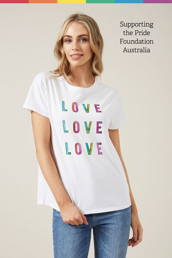 LOVE RAINBOW T-SHIRT  WHITE/MULTI  hi-res