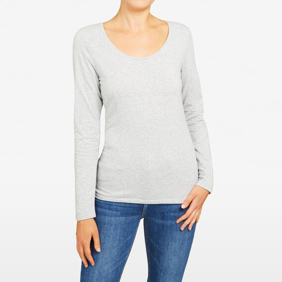 HAYLEY LONG SLEEVE SCOOP NECK  GREY MARLE  hi-res