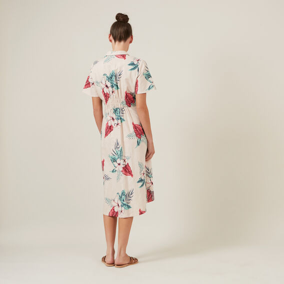 TROPICAL SHIRT MIDI DRESS  PINK  hi-res