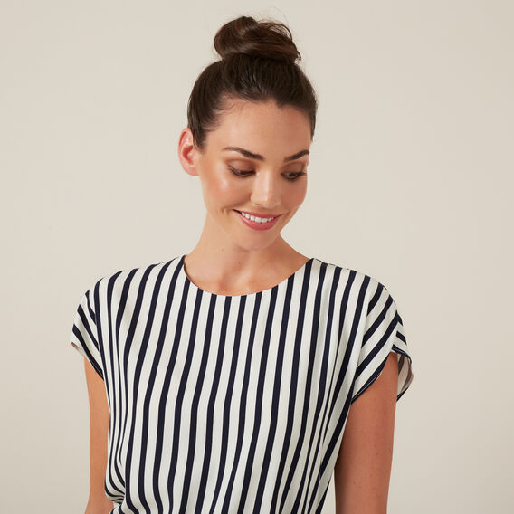 WIDE STRIPE SHELL TOP  NAVY/WHITE  hi-res