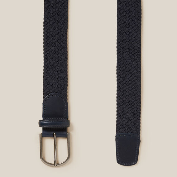 PLAITED ELASTICATED BELT  MARINE BLUE  hi-res