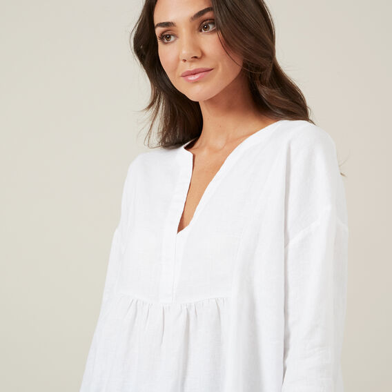 BABYDOLL LINEN SHIRT  WHITE  hi-res