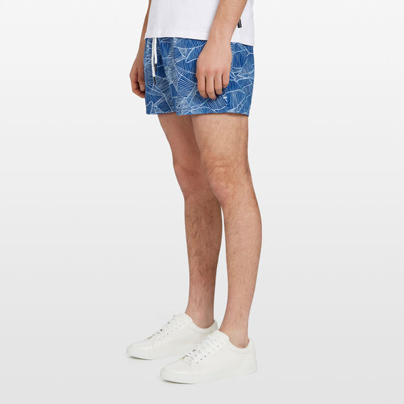 PALM LEAF SWIM SHORT  MID BLUE  hi-res
