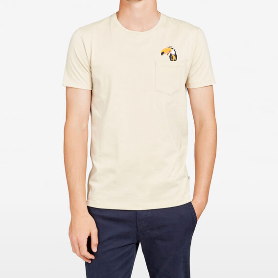 TOUCAN POCKET CREW NECK T-SHIRT  STONE  hi-res