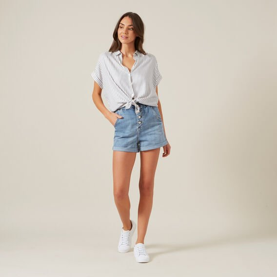 WASHED STRIPE BUTTON DOWN SHIRT  NAVY/WHITE  hi-res