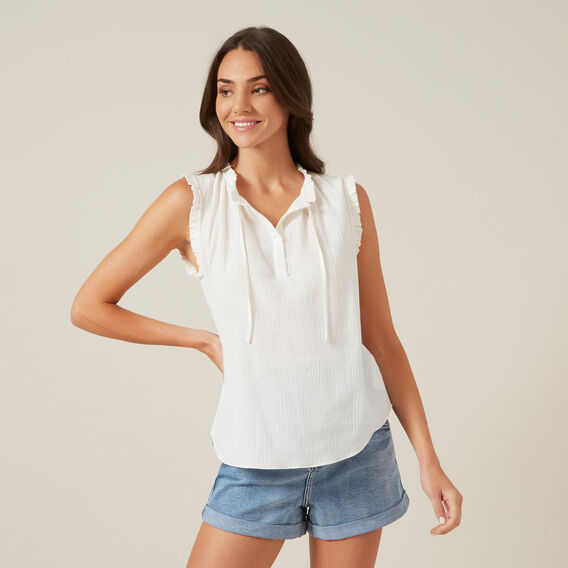 RUFFLE DETAIL SLEEVELESS SHIRT  WHITE  hi-res