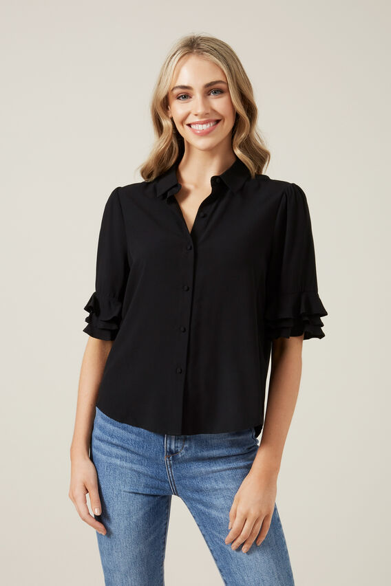 FLUTTER SLEEVE SHIRT  BLACK  hi-res