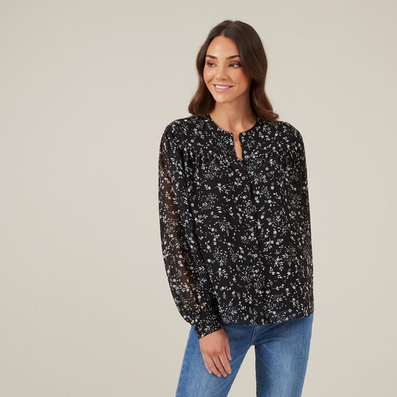 FLORAL BLOUSE  BLACK  hi-res