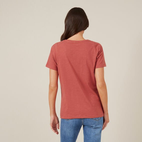 SLUB CREW NECK TEE  RUST  hi-res