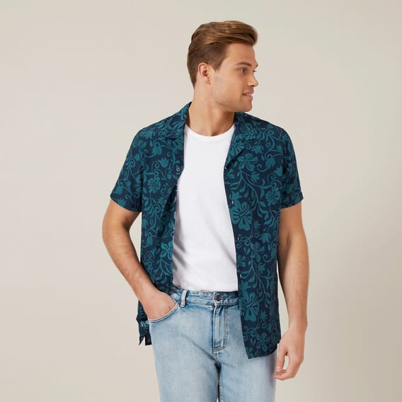 BEACH FLORAL CAMP COLLAR SHIRT  MARINE BLUE  hi-res