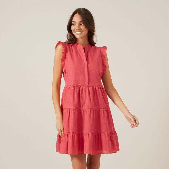 MINI DOBBY DRESS  WASHED RED  hi-res