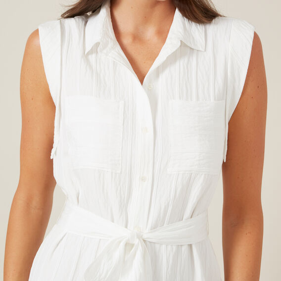 BELTED SHIRT MIDI DRESS  WHITE  hi-res