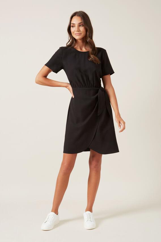 TIE FRONT MINI DRESS  BLACK  hi-res