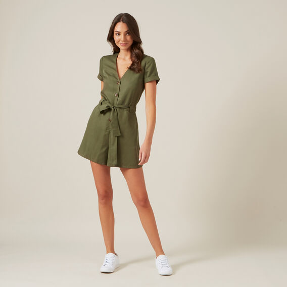 BUTTON UP PLAYSUIT  KHAKI  hi-res