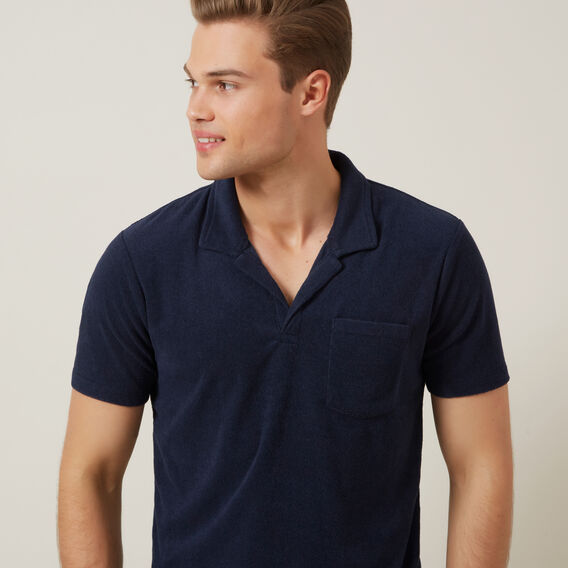 TERRY TOWELLING POLO  MARINE BLUE  hi-res