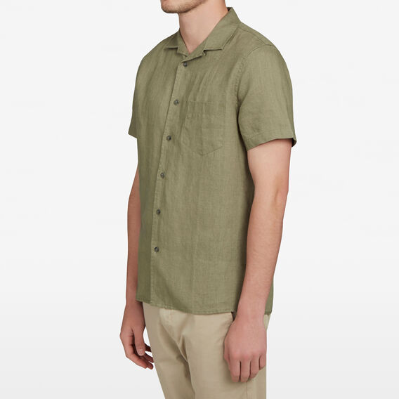 CAMP COLLAR LINEN CLASSIC FIT SHIRT  OLIVE  hi-res