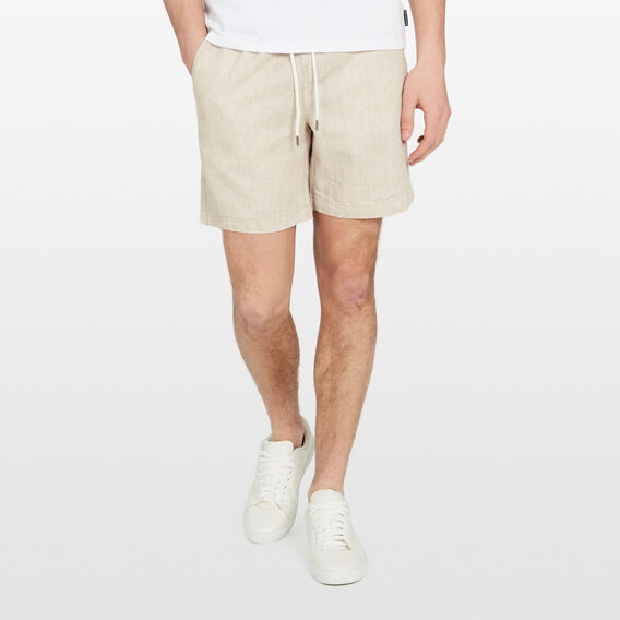 LINEN ELASTICATED SHORT  OATMEAL  hi-res