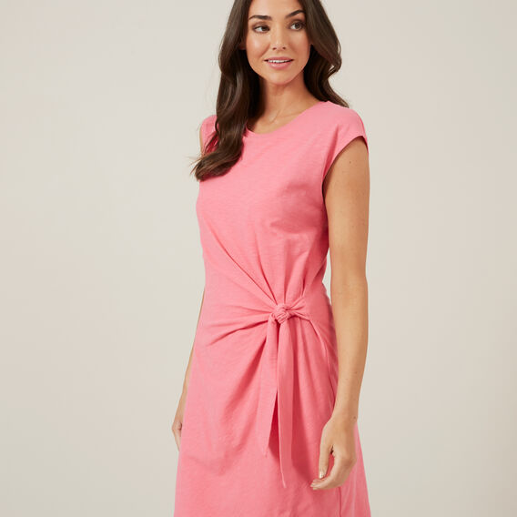 TIE FRONT JERSEY DRESS  BRIGHT PINK  hi-res