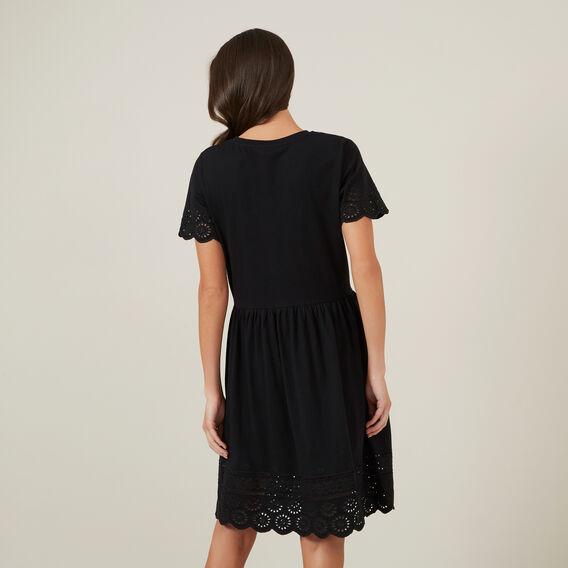 BRODERIE JERSEY DRESS  BLACK  hi-res