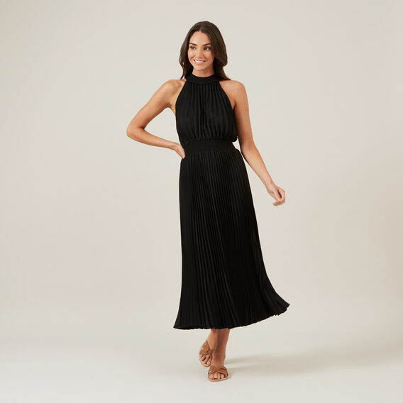 HIGH NECK PLEATED DRESS  BLACK  hi-res