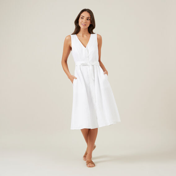 LINEN BUTTON DOWN MIDI DRESS  WHITE  hi-res