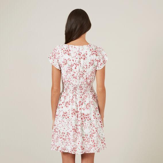 FLORAL TEA DRESS  PINK/OFF WHITE  hi-res