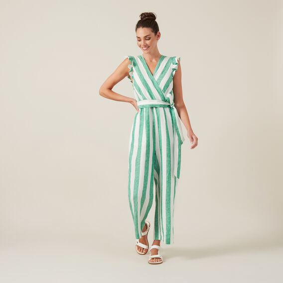LINEN WIDE LEG JUMPSUIT  GREEN/WHITE  hi-res
