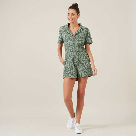 ANIMAL BOILER PLAYSUIT  KHAKI/ANIMAL  hi-res