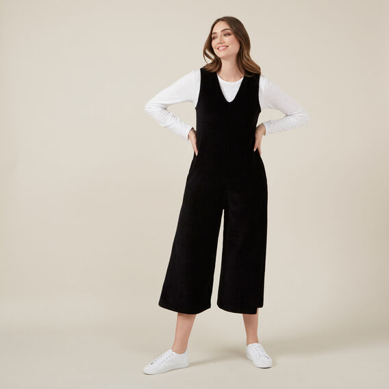 RIBBED VELVET JUMPSUIT  BLACK  hi-res