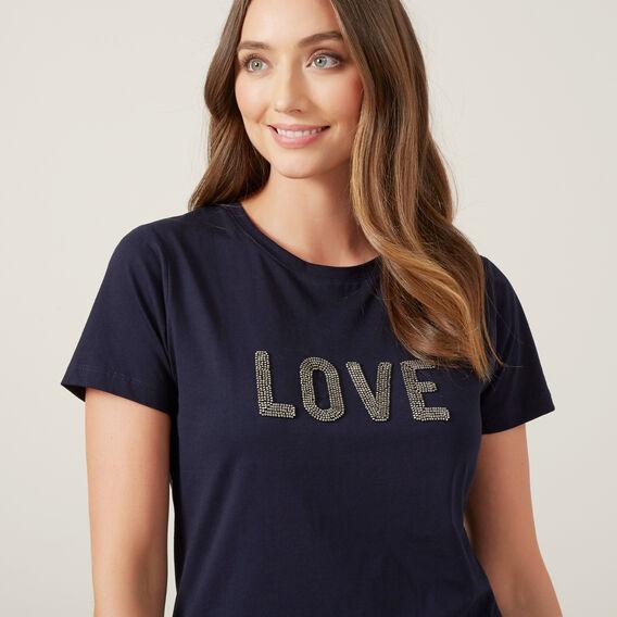 LOVE EMBELLISHED T-SHIRT  NAVY  hi-res