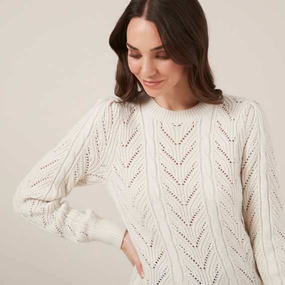 POINTELLE FULL SLEEVE KNIT  LIGHT OATMEAL  hi-res