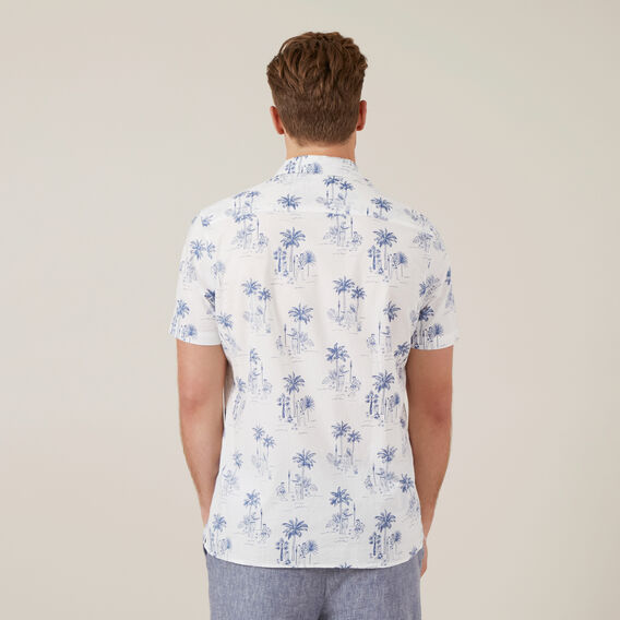 HAWAIIAN PRINT CLASSIC FIT SHIRT  WHITE  hi-res