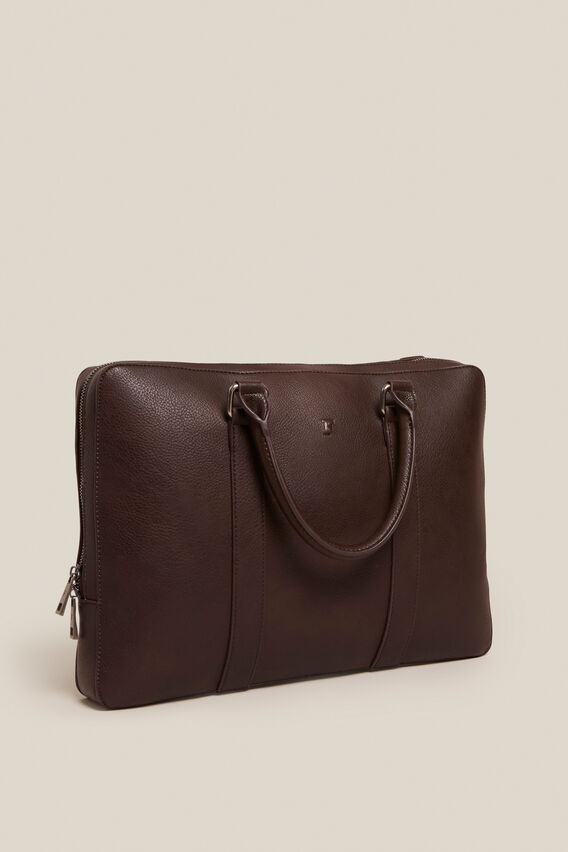 LEATHER LOOK BRIEF CASE  CHOCOLATE  hi-res
