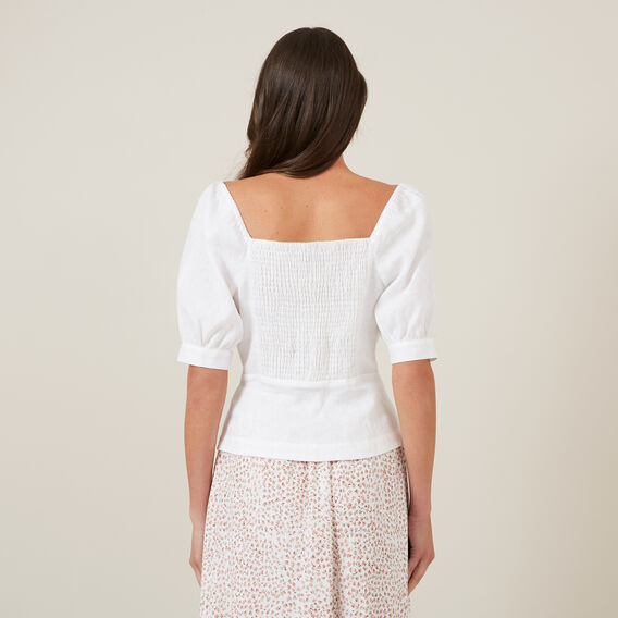 SWEETHEART LINEN TOP  WHITE  hi-res